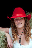 Country Girl with red hat Royalty Free Stock Photography