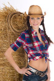 Country Girl Standing Next to Haybale Stock Photos