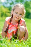 Country girl in summer stock photo