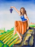 Country girl and vineyard. Beautiful country girl showing a grape. Hand painted illustration Stock Photos