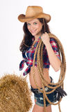 Country Girl Working In Cowboy Hat Rope Gear royalty free stock photography