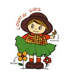 Country girls, kids t-shirt print stock illustration