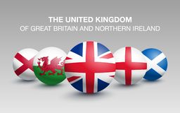 Country of Great Britain in the form of a ball. Country of Great Britain England, Scotland, Wales and Northern Ireland. Flags in the form of a ball. Vector vector illustration