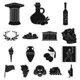 Country Greece black icons in set collection for design.Greece and landmark vector symbol stock web illustration. Country Greece black icons in set collection Royalty Free Stock Photos