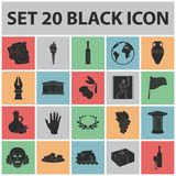 Country Greece black icons in set collection for design.Greece and landmark vector symbol stock web illustration. Country Greece black icons in set collection Royalty Free Stock Images
