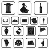 Country Greece black icons in set collection for design.Greece and landmark vector symbol stock web illustration. Country Greece black icons in set collection Stock Photo