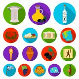 Country Greece flat icons in set collection for design.Greece and landmark vector symbol stock web illustration. Country Greece flat icons in set collection for Royalty Free Stock Images