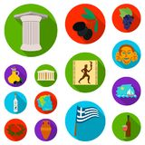 Country Greece flat icons in set collection for design.Greece and landmark vector symbol stock web illustration. Country Greece flat icons in set collection for Stock Photos