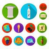 Country Greece flat icons in set collection for design.Greece and landmark vector symbol stock web illustration. Country Greece flat icons in set collection for Stock Photo