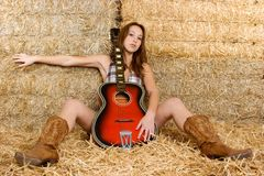 Country Guitar Girl. Beautiful sexy country guitar girl Royalty Free Stock Images