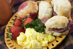 Country Ham Biscuits Breakfast Royalty Free Stock Photos
