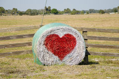 Country Hay Bale Valentine. Country Hale Bale Heart Valentine stock images