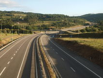 Country Highway. North Portugal A24 motorway spanish border direction Royalty Free Stock Image