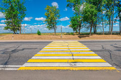 Country highway with a pedestrian crossing Royalty Free Stock Images
