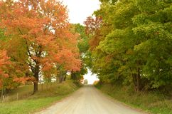 Country hill road on an Autumn day Royalty Free Stock Image