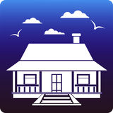 Country home. Country style cottage on blue background stock illustration