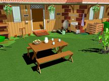 Country Home Garden-Lunch-3D. Relax on a Country Home Garden Stock Photo