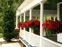 Country Home Porch. Front white porch of country home decorated with hanging pots of red flowers between white columns Stock Image