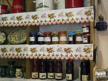 Country home shelves with food preserves Stock Images