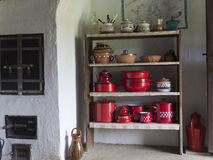Country home vintage pots and pans Royalty Free Stock Photo