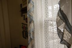 Country home window drapes. Interior royalty free stock photos