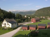 Country hotel. Norway. Mountain Wooden Country Hotel Royalty Free Stock Image
