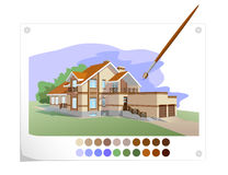 Country house. Water colour drawing of a country house Stock Image
