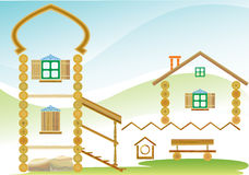 Country house. The image of the country house in the form of constructive making elements. illustration. a vector Stock Images