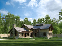 Country house. House on background wood, lawn before house Stock Photo