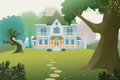 Country house. Country cottage in a wood - vector illustration Royalty Free Stock Photos