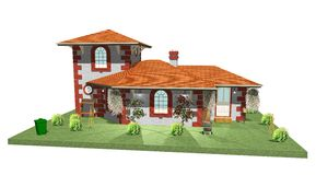 Country House-2. 3d Country House with Garden and Plants Royalty Free Stock Images