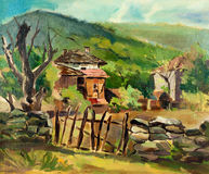 Country house. Original oil painting showing traditional Bulgarian country house and fence in the mountains.Nature landscape.Modern Impressionism Stock Photography