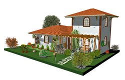 Country House-3d. A Sweet Country House with Wood Arbor Royalty Free Stock Images