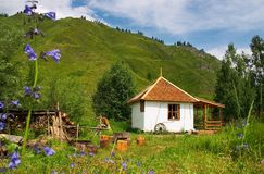 Country house. Mountain Country house, Altay Royalty Free Stock Images