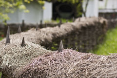 Country house backyard. Rustic fence country house backyard Royalty Free Stock Image