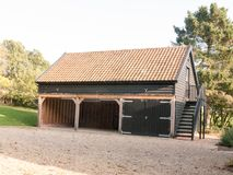 Country house barn empty no people gravel garage. Essex; england; uk stock photo