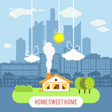 Country house with big industrial city on the Royalty Free Stock Photos