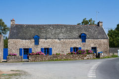 Country house in Brittany France. Typical country house with blue shutters in Brittany, France Royalty Free Stock Photography