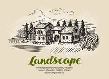 Country house, building sketch. Vintage rural landscape, farm, cottage vector illustration Stock Photos