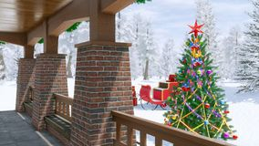 Country house with christmas decoration. Porch of luxury country house decorated for Xmas holidays with lluminated fir tree, santa claus sleigh and snowy winter Stock Photos