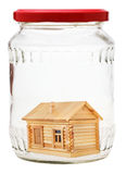 Country house in closed glass jar Royalty Free Stock Image