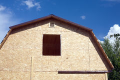 Country house construction on sunny summer day Royalty Free Stock Photos