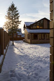 Country house cottage in winter Royalty Free Stock Image