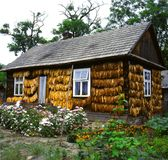 a country house in the east of Poland with a drying tobacco Stock Image