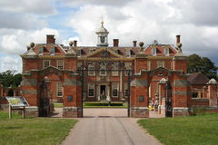 Country house england. Country house hanbury hall in England sunlit driveway to entrance brick architecture Stock Images