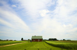 Country house in field stock photography