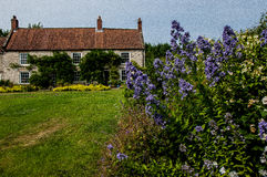 Country house and garden. English country house and garden in high summer royalty free stock photography