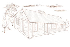Country house -  hand drawn. Stock Images