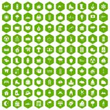 100 country house icons hexagon green. 100 country house icons set in green hexagon isolated vector illustration Stock Photography