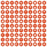 100 country house icons hexagon orange. 100 country house icons set in orange hexagon isolated vector illustration Royalty Free Stock Images